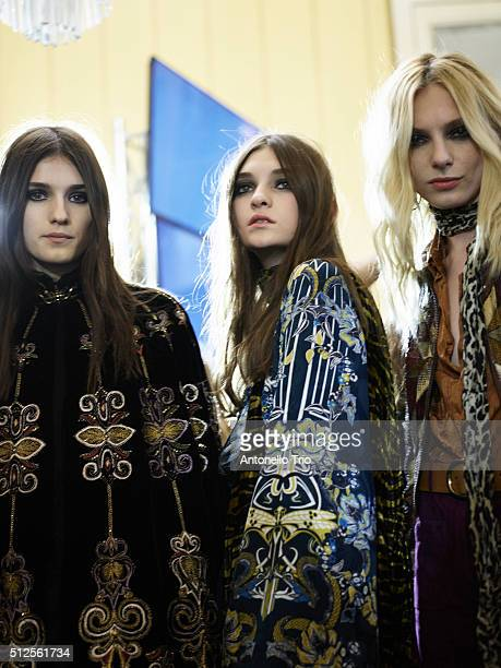 Models are seen backstage at the Roberto Cavalli fashion show during Milan Fashion Week Fall/Winter 2016/2017 on February 24 2016 in Milan Italy
