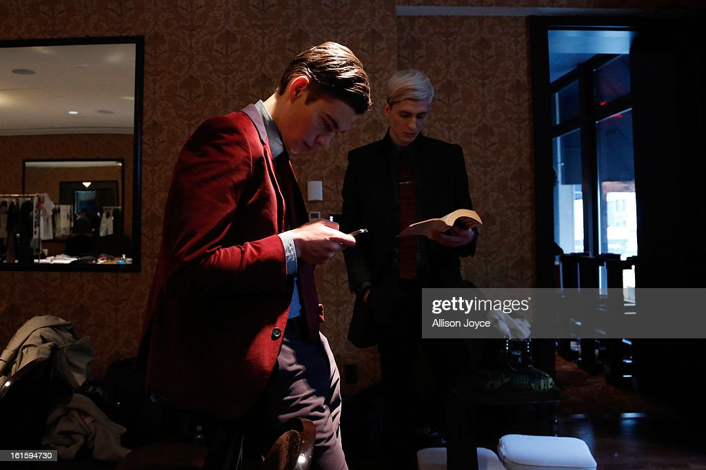 Models are seen backstage before the Bespoken fall 2013 presentation during Mercedes-Benz Fashion Week at The NoMad Hotel on February 12, 2013 in New York City.