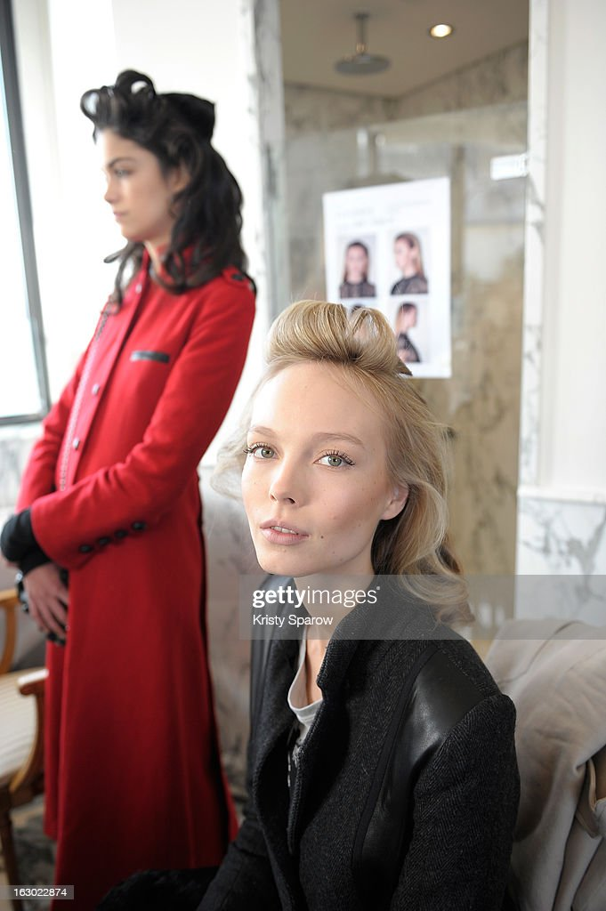 Models are seen backstage before the Collette Dinnigan 2013/14 Ready-to-Wear show as part of Paris Fashion Week at Le Meurice on March 3, 2013 in Paris, France.