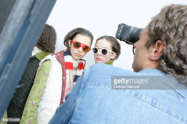 Models are seen backstage before the Moncler Gamme Rouge show as part of the Paris Fashion Week Womenswear Fall/Winter 2017/2018 on March 7 2017 in...
