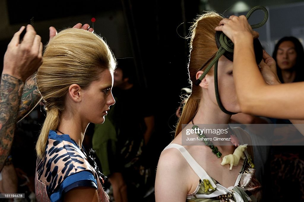 Models are seen backstage during the Cibeles Madrid Fashion Week Spring/Summer 2013 at Ifema on September 2, 2012 in Madrid, Spain.