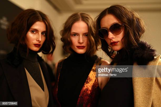 Models are seen backstage prior the Dawid Tomaszewski fashion show intervention A/W 2016/17 as part of Der Berliner Mode Salon during the...