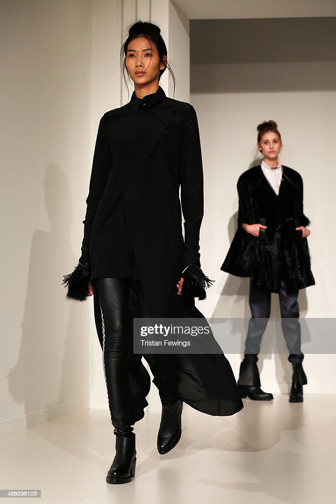 Models are seen during the Haizhen Wang presentation at London Fashion Week AW14 at Somerset House on February 14, 2014 in London, England.