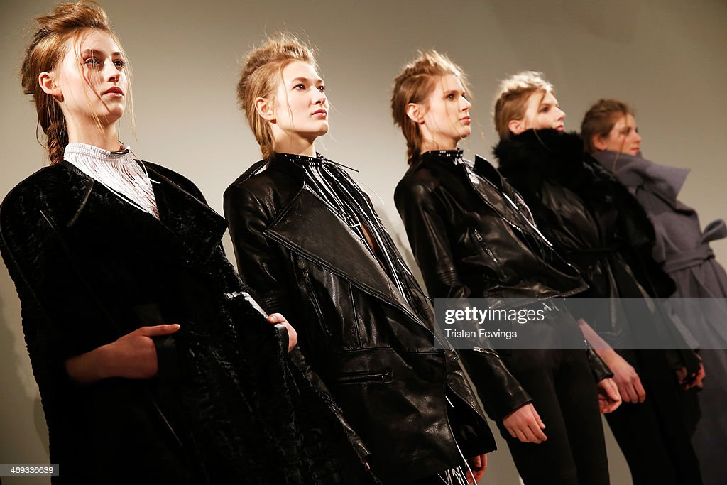 Models are seen during the Haizhen Wang presentation at London Fashion Week AW14 at Somerset House on February 14 2014 in London England