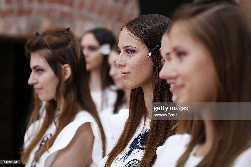 Models are seen during the rehearsal ahead of the Dorothee Schumacher show during the Mercedes-Benz Fashion Week Berlin Spring/Summer 2017 at Elisabethkirche on June 29, 2016 in Berlin, Germany.
