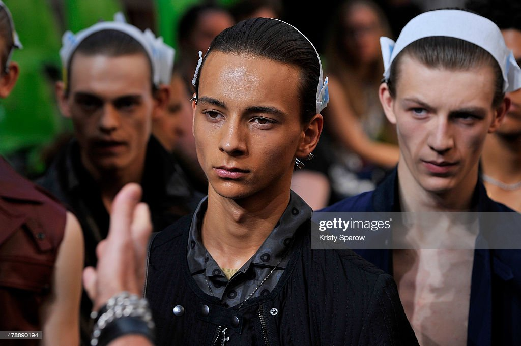 Models are seen during the rehearsal before the Lanvin Menswear Spring/Summer 2016 show as part of Paris Fashion Week on June 28, 2015 in Paris, France.