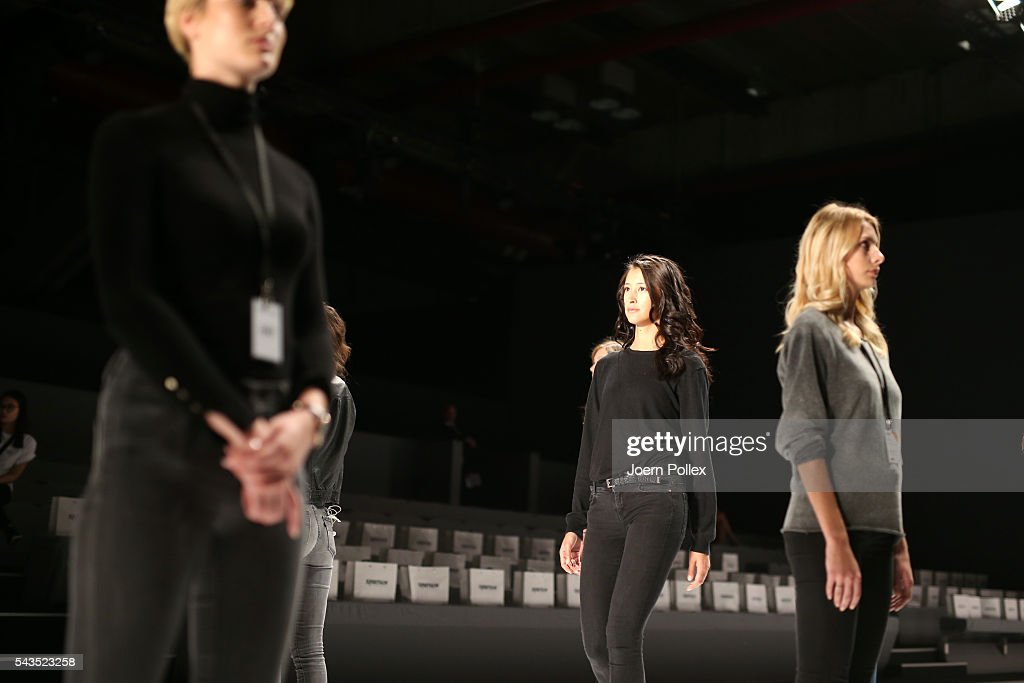 Models are seen backstage ahead of the Sportalm show during the Mercedes-Benz Fashion Week Berlin Spring/Summer 2017 at Erika Hess Eisstadion on June 29, 2016 in Berlin, Germany.