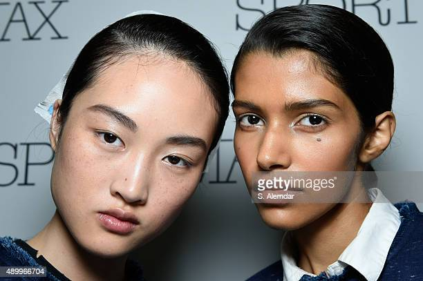 Models are seen in the backstage ahead of the Sportmax show during Milan Fashion Week Spring/Summer 2016 on September 25 2015 in Milan Italy