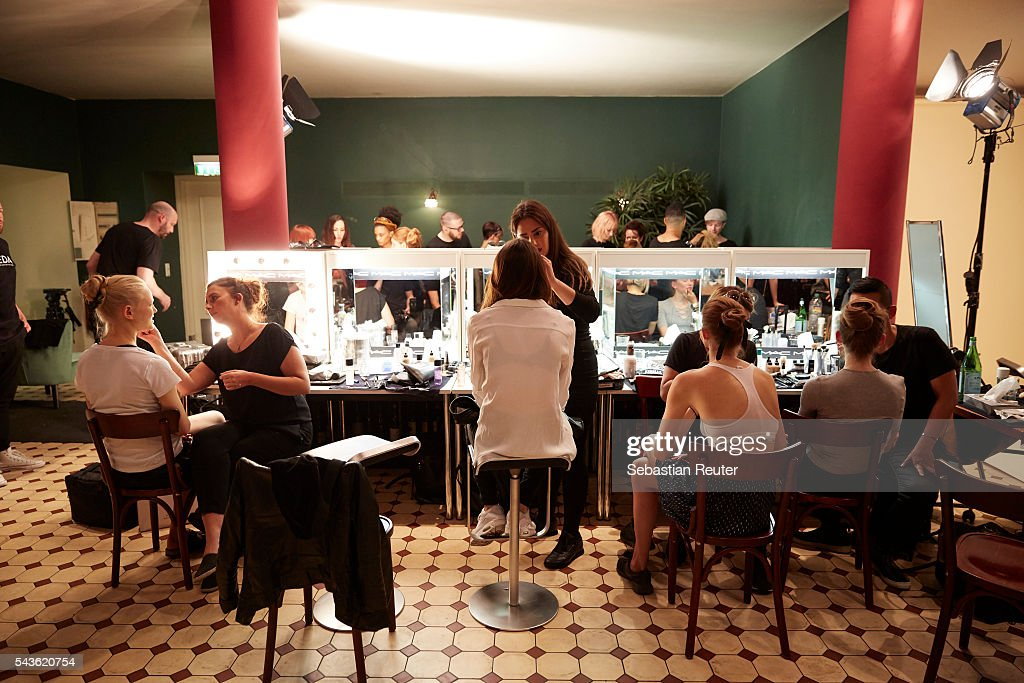 Models are seen in the backstage at the 0039 Italy show during the Mercedes-Benz Fashion Week Berlin Spring/Summer 2017 at Borchardt on June 29, 2016 in Berlin, Germany.