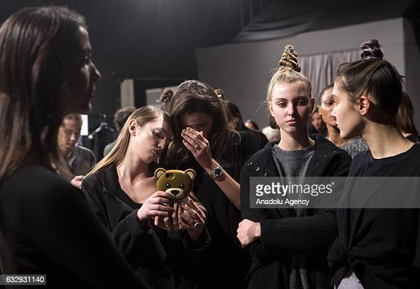 Models are seen in the backstage before the presentation of the Italian fashion designer Sabrina Persechino's SpringSummer 2017 collection during the...