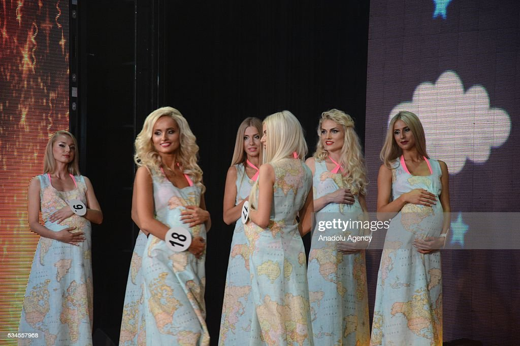 Models are seen on a stage during the 'Miss Blonde 2016' Beauty Contest in Kiev, Ukraine on May 26, 2016. Singers Iryna Bilyk, Nikolay Tishchenko, Boxer Vyacheslav Uzelkov and modeling agency owner Alexander Britain attended to a contest as a Juryman.