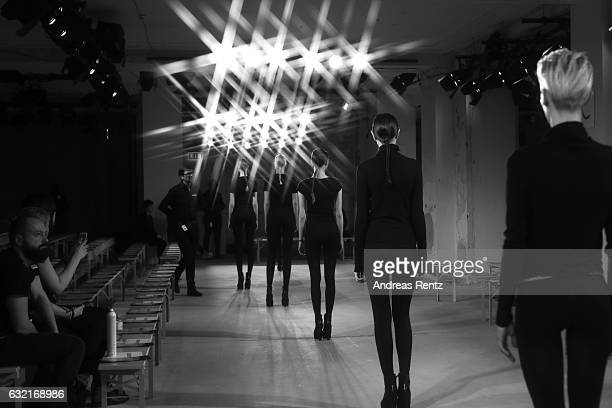 Models are seen on the runway ahead of the I'Vr Isabel Vollrath show during the MercedesBenz Fashion Week Berlin A/W 2017 at Kaufhaus Jandorf on...