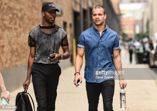 Models are seen outside the General Idea show during New York Fashion Week Men's S/S 2018 at Skylight Clarkson Sq on July 13 2017 in New York City