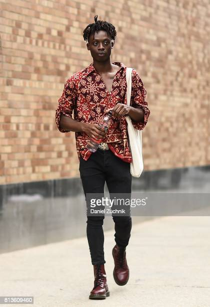Models are seen outside the Landlord show during New York Fashion Week Men's S/S 2018 at Skylight Clarkson Sq on July 12 2017 in New York City