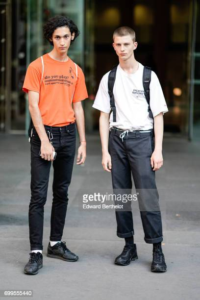 Models are seen outside the OAMC show during Paris Fashion Week Menswear Spring/Summer 2018 on June 21 2017 in Paris France