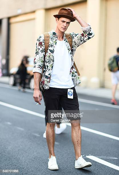 Models are seen outside the Robert Geller show during New York Fashion Week Men's S/S 2017 Day 2 on July 12 2016 in New York City