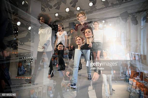 Models are seen rehearsing ahead of the Sportalm show during the MercedesBenz Fashion Week Berlin A/W 2017 at Kaufhaus Jandorf on January 18 2017 in...