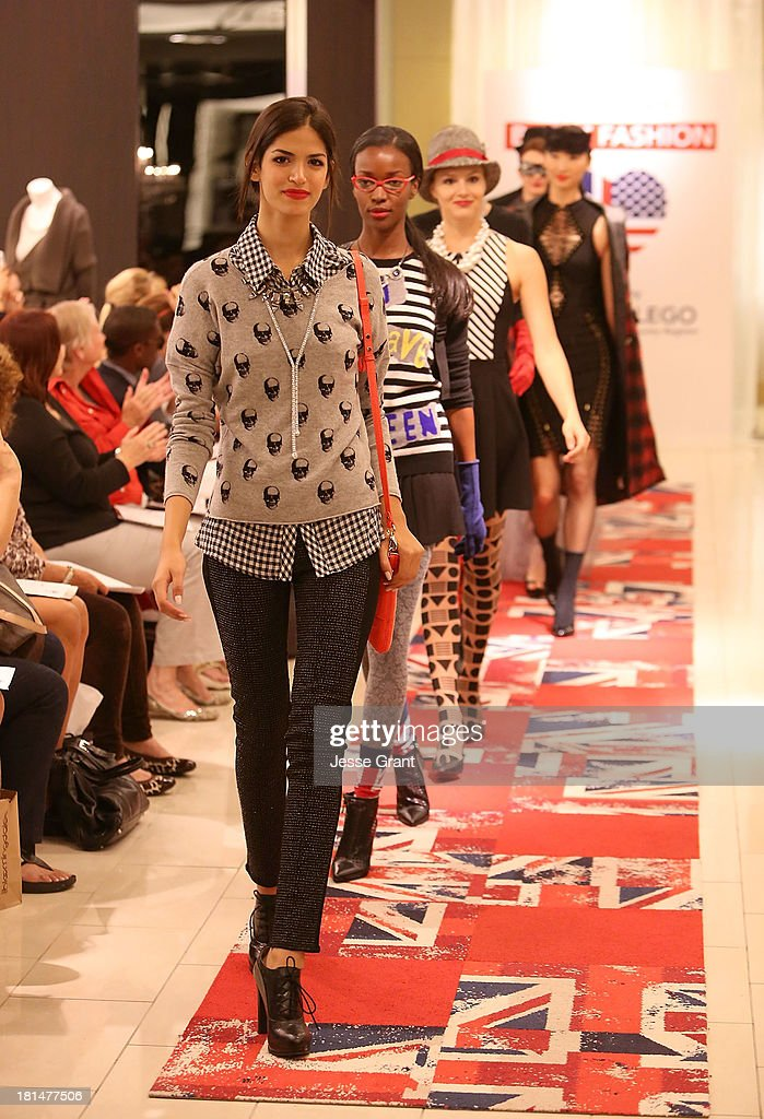 Models are seen walking the runway during the Brit-It-Fashion show at Bloomingdale's South Coast Plaza on September 21, 2013 in Costa Mesa, California.