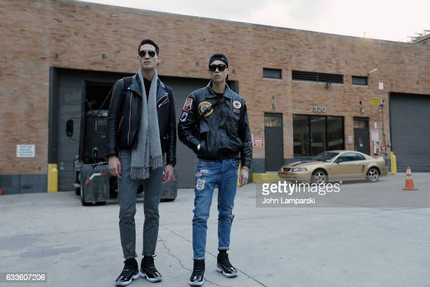 Models are seen wearing leather jackets eans and sun glasses outside the General Idea fashion show during New York Men's fashion week AW17 on...