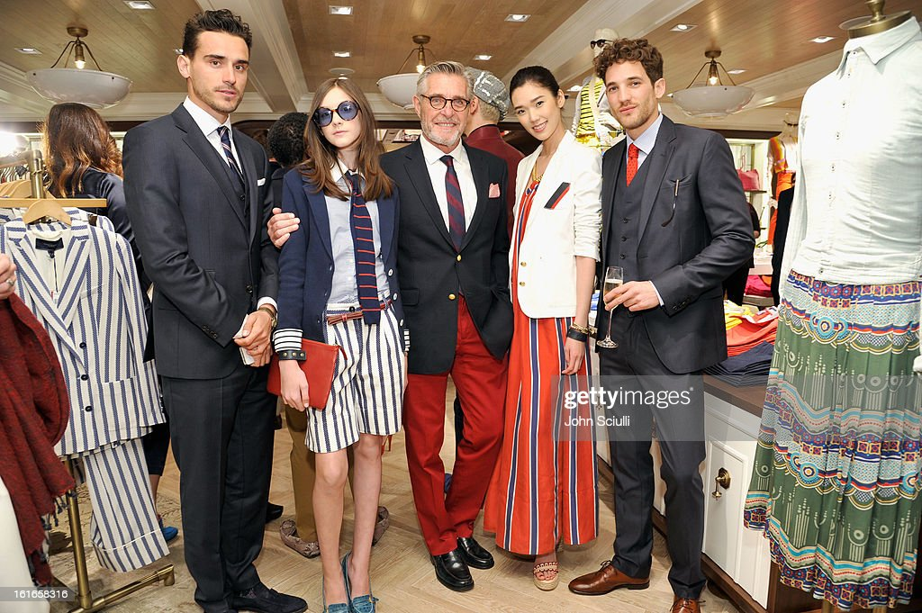 Models Arthur Kulkov, Chloe Blackshire, Bernard Fouquet, Tao Okamoto and Max Motta attend Tommy Hilfiger New West Coast Flagship Opening on Robertson Boulevard on February 13, 2013 in West Hollywood, California.