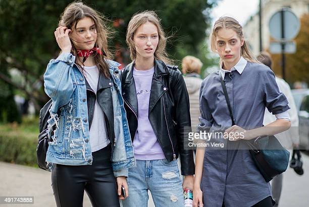 Models at Moncler Gamme Rouge during the Paris Fashion Week Womenswear Spring/Summer 2016 on Oktober 7 2015 in Paris France