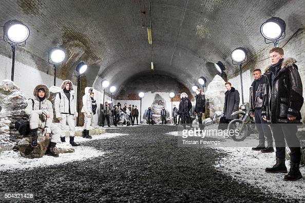 Models at the Belstaff presentation during The London Collections Men AW16 at the Ewer Street Arches on January 10 2016 in London England