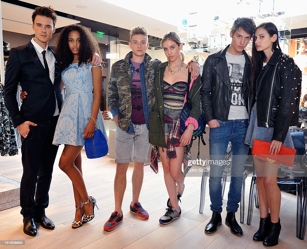 Models at the press day at Topshop Topman at the Grove on February 12, 2013 in Los Angeles, California.