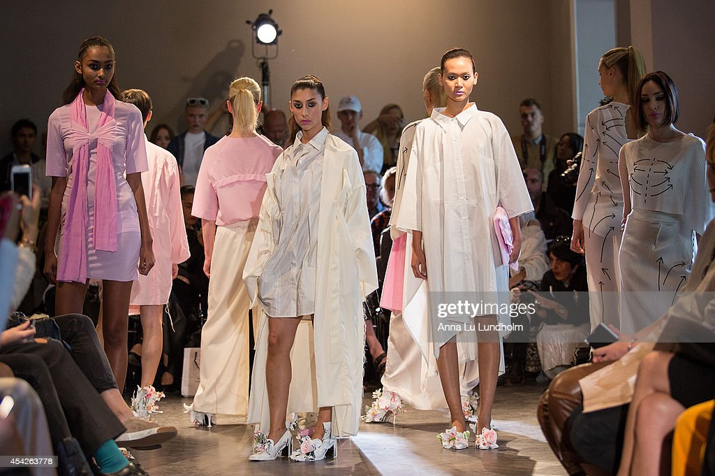 Models at the runway on the Minna Palmqvist show at Fashion Week in Stockholm SS 15 on August 27, 2014 in Stockholm, Sweden.