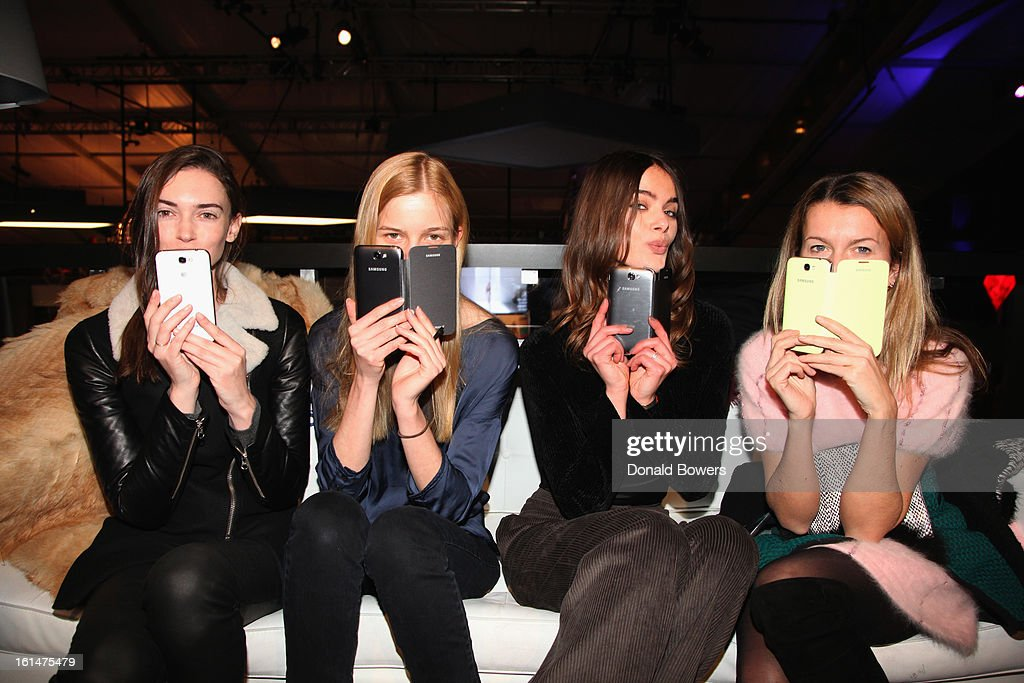 Models attend attends the Samsung Galaxy Lounge VIP Reception at Mercedes-Benz Fashion Week Fall 2013 at Lincoln Center on February 10, 2013 in New York City.