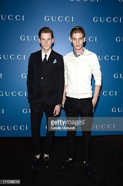 Models attend Gucci Men's Flagship Store Opening and Launch of Gucci Made to Measure Capsule Collection 'Lapo's Wardrobe' on June 23 2013 in Milan...