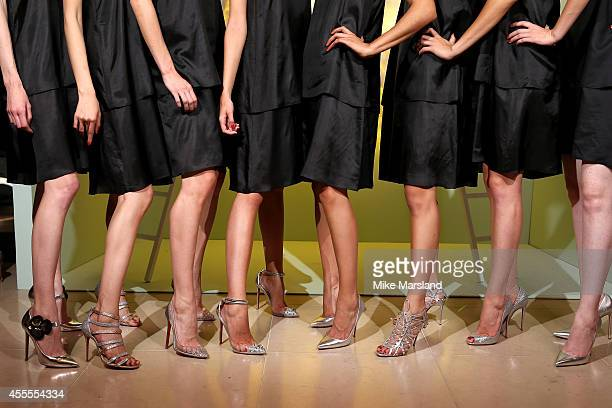 Models attend the Harrods Shoe Heaven Launch Party at Harrods on September 16 2014 in London England