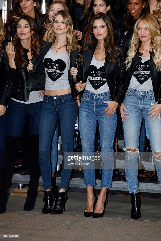 Models attend the photocall for the Victoria's Secret Angels ahead of the annual fashion show at Victoria's Secret in New Bond Street on December 1...