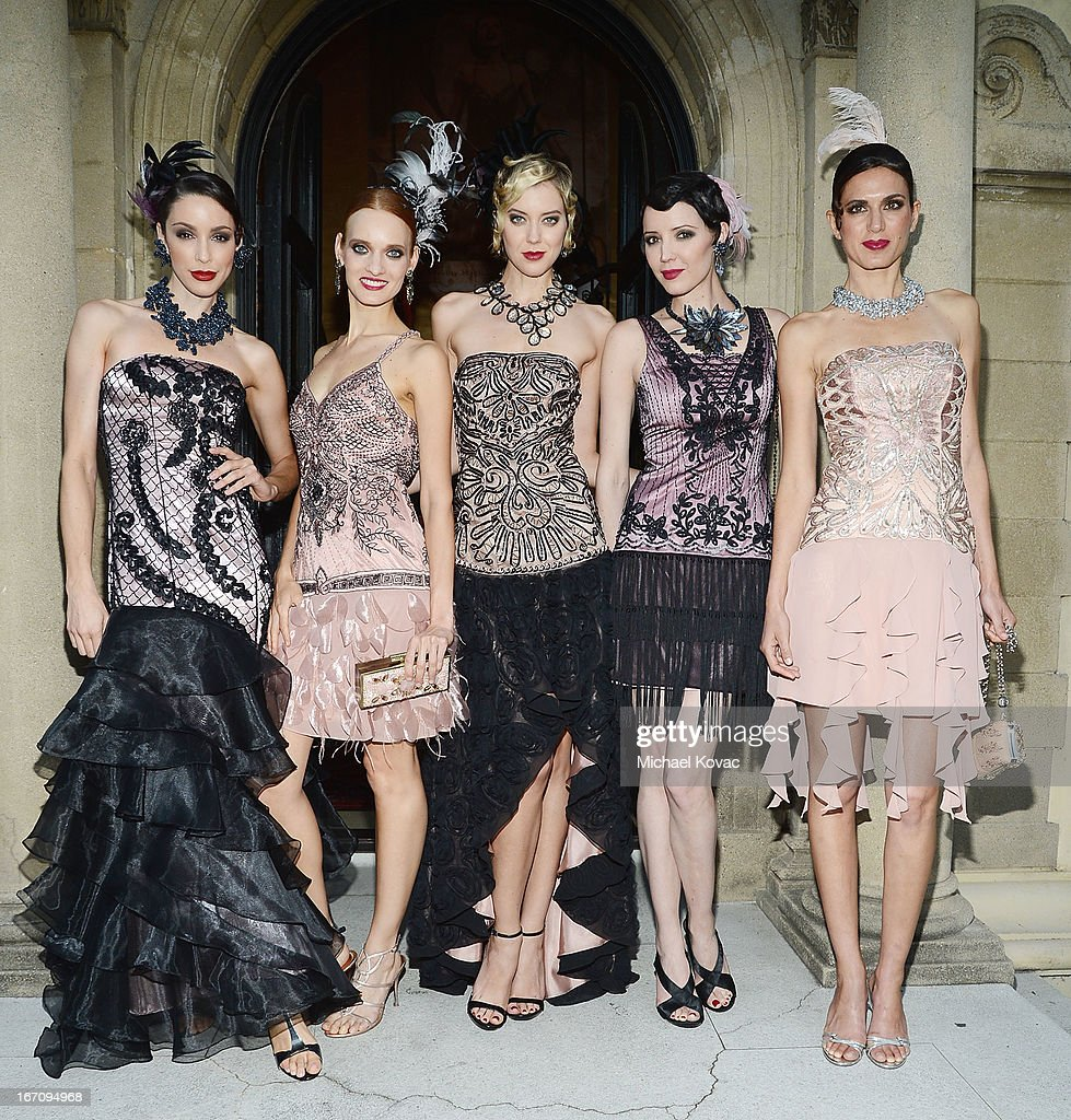 Models attend the Sue Wong Fall 2013 Great Gatsby Collection Unveiling and Birthday Celebration on April 19, 2013 in Los Angeles, California.