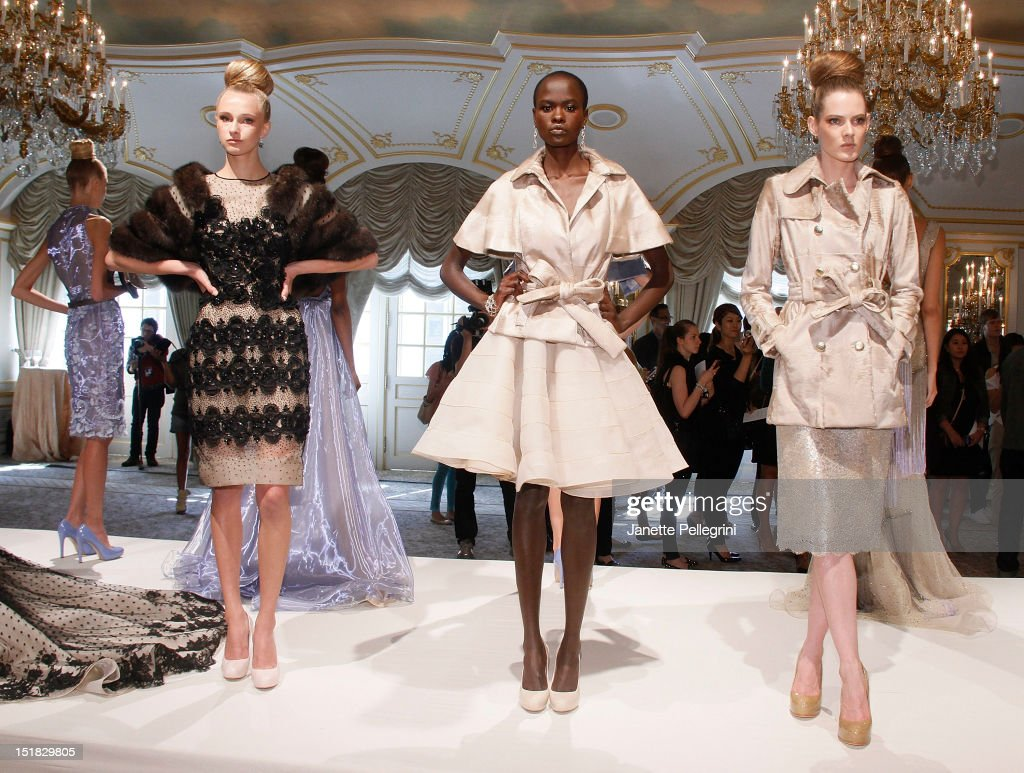 Models attends the Dennis Basso spring 2013 presentation during Mercedes-Benz Fashion Week at the St. Regis Hotel on September 11, 2012 in New York City.