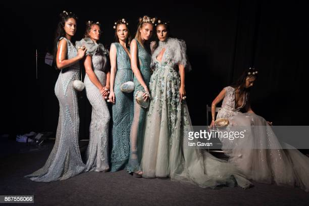 Models backstage ahead of the Amato show during Fashion Forward October 2017 held at the Dubai Design District on October 28 2017 in Dubai United...