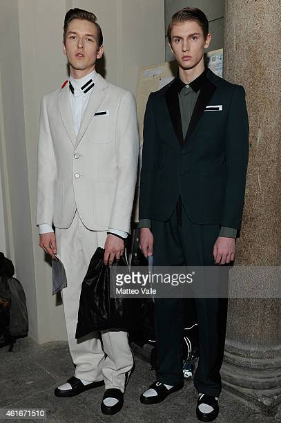 A models backstage ahead of the Andrea Pompilio show as a part of Milan Menswear Fashion Week Fall Winter 2015/2016 as during the on January 17 2015...