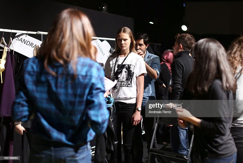 Models backstage ahead of the Best of Mercedes Benz Fashion Week Istanbul Fall/Winter 2013/14 at Antrepo 3 on March 16, 2013 in Istanbul, Turkey.