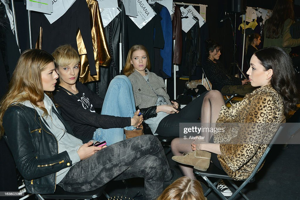 Models backstage ahead of the Best of Mercedes-Benz Fashion Week Istanbul Fall/Winter 2013/14 at Antrepo 3 on March 16, 2013 in Istanbul, Turkey.