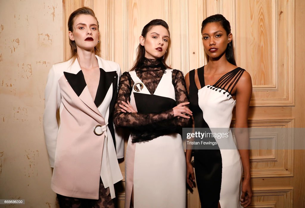 Models backstage ahead of the Burce Bekrek show during Mercedes-Benz Istanbul Fashion Week March 2017 at Grand Pera on March 20, 2017 in Istanbul, Turkey.