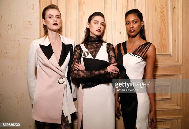Models backstage ahead of the Burce Bekrek show during MercedesBenz Istanbul Fashion Week March 2017 at Grand Pera on March 20 2017 in Istanbul Turkey