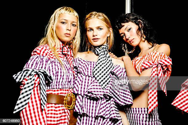 Models backstage ahead of the House of Holland runway show during London Fashion Week Spring/Summer collections 2017 on September 17 2016 in London...