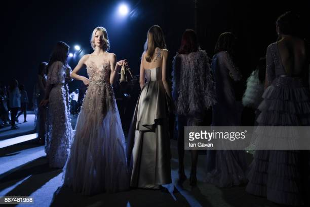 Models backstage ahead of the Joao Rolo International show during Fashion Forward October 2017 held at the Dubai Design District on October 28 2017...