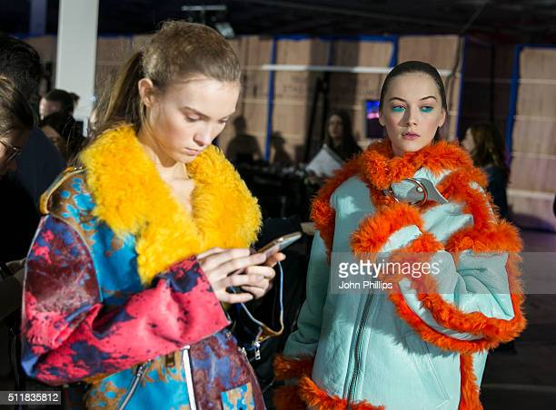 Models backstage ahead of the Marques'Almeida show during London Fashion Week Autumn/Winter 2016/17 at Olympia West on February 23 2016 in London...