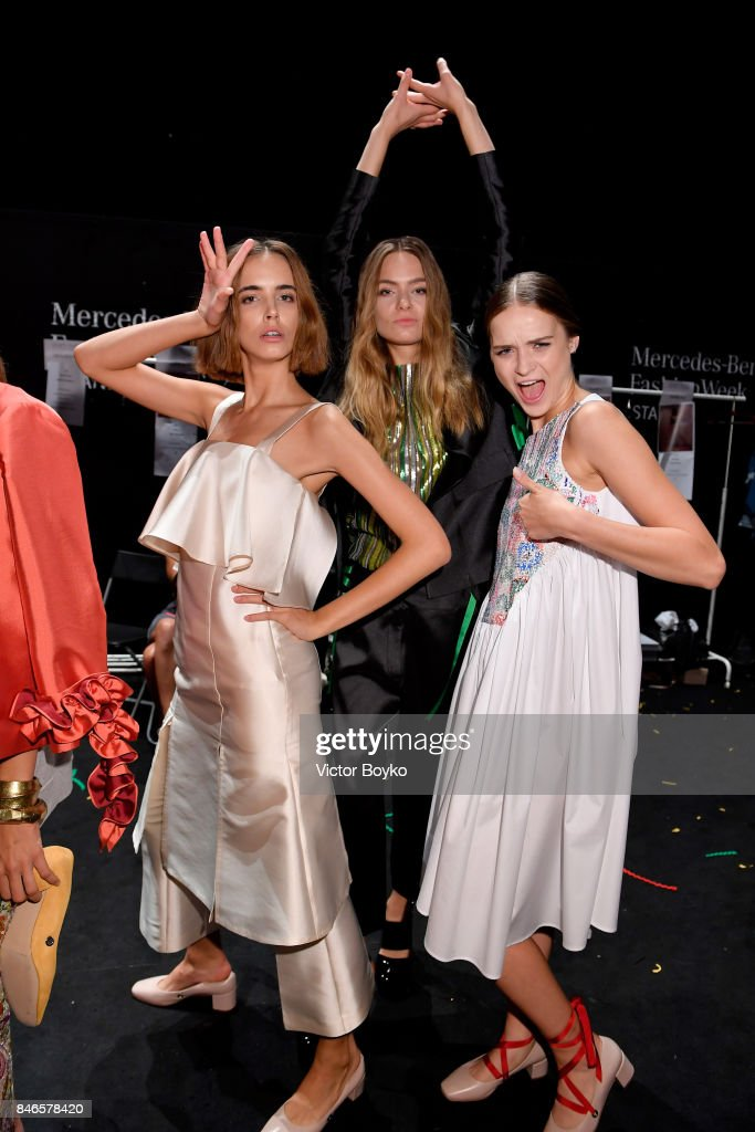 Models backstage ahead of the Mehtap Elaidi show during Mercedes-Benz Istanbul Fashion Week September 2017 at Zorlu Center on September 13, 2017 in Istanbul, Turkey.