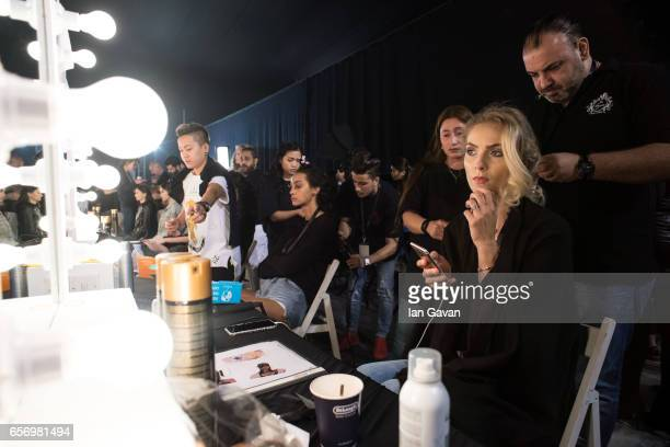 Models backstage ahead of the Michael Cinco show at Fashion Forward March 2017 held at the Dubai Design District on March 23 2017 in Dubai United...