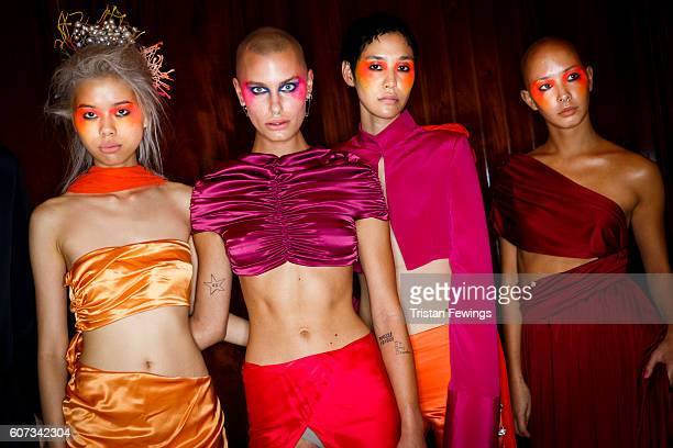 Models backstage ahead of the Morecco runway show at Fashion Scout during London Fashion Week Spring/Summer collections 2017 on September 17 2016 in...