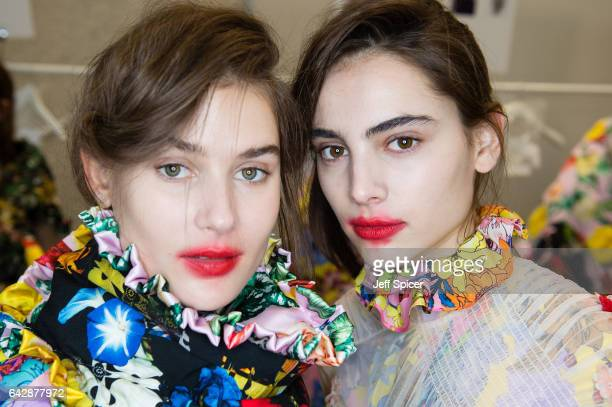 Models backstage ahead of the Preen by Thornton Bregazzi show during the London Fashion Week February 2017 collections on February 19 2017 in London...