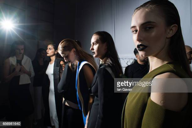 Models backstage ahead of the Royaled by RH presentation at Fashion Forward March 2017 held at the Dubai Design District on March 23 2017 in Dubai...
