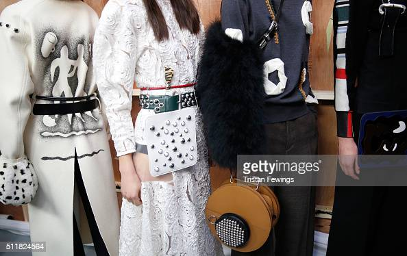 Models backstage ahead of the Toga show during London Fashion Week Autumn/Winter 2016/17 at Brewer Street Car Park on February 23 2016 in London...