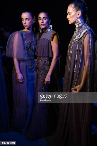 Models backstage ahead of the Zareena show during Fashion Forward October 2017 held at the Dubai Design District on October 28 2017 in Dubai United...